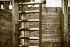 Detail of Old Wood and Metal Livestock Chute Rural America (Antique) Stock Photo