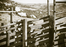 Detail of Old Wood and Metal Livestock Chute Rural America (Antique) Royalty Free Stock Image