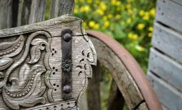 Detail of old wooden cart. In a park in amsterdam stock photo