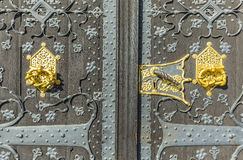 Detail of old wooden door of townhall  in Frankfurt Royalty Free Stock Photo