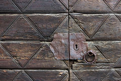 Detail of an old wooden doorway Royalty Free Stock Photo