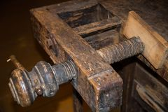 Detail of old wooden printing press Stock Images