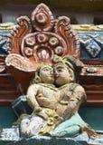 Detail of older Gopuram at Mahalingeswarar Temple, loving couple Royalty Free Stock Photo