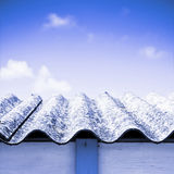 Detail of an olf dangerous asbestos roof Royalty Free Stock Photo