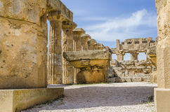 Detail of olympieion temple with its altars. Interior of the olympieion temple and its altars in selinunte sicily Royalty Free Stock Images