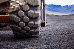 Free Detail On Tire Track Pattern On A Yellow Heavy Duty Digger Excavator Stock Image - 130102551