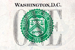Detail of one dollar bill Stock Images