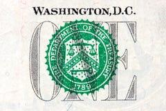 Detail of one dollar bill. Macro US One Dollar Bill Treasury Seal Stock Images
