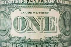 Detail on one dollar bill royalty free stock photography