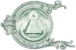 Detail from the one dollar bill, showing the pyramid with eye and the inscription Annuit Coeptis. royalty free stock photos
