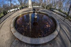 Detail of one of the fountains of the park of La Isla in Aranjuez. Madrid, Spain. Fish eye Royalty Free Stock Photo