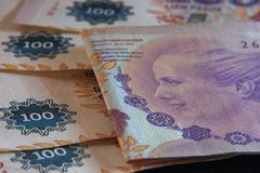Detail of one hundred argentine pesos royalty free stock photography