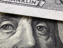 Detail of one hundred dollars bill. Close-up background Stock Image