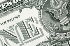Detail from one us dollar banknote stock photography