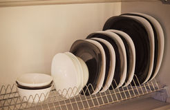 Detail of open kitchen drawers with dishes Stock Images