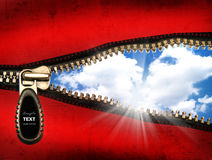 Detail of an opened zipper. With a blue sky stock illustration