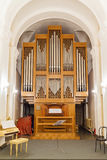 Detail of the organ. Music of the church, Russia royalty free stock images