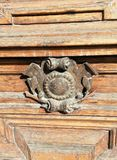 Detail of ornament of the doors of the building. Detail of ornament of the old doors of the building stock image