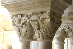 Detail, ornate Corinthian capitals. On columns in the cloister of Notre Dame de  Nazareth Cathedral, Vaison la Romaine, France Royalty Free Stock Photos