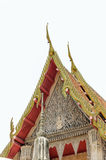 Detail of ornately decorated temple roof in  thailand Stock Photos