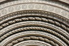 Detail Orvieto Cathedral. Detail of the facade of Orvieto Cathedral. (1290 - 1600 a. c.) Richly decorated with lots of stone mosaics and reliefs as well as Stock Photography