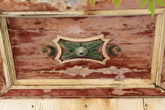 Detail of Ottoman symbols on ceiling of mosque on Greek Island of Kos. Detail with Muslim symbols on wooden ceiling of ancient mosque on Kos Island in Greece royalty free stock photos