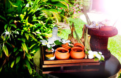 Detail of outdoor spa centre at tropical resort. Spa concept. Stock Image