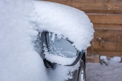 Heated exterior mirror for clear visibility in traffic stock photo