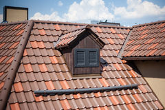 Detail of overlapping roofing tiles on a new build Royalty Free Stock Image