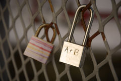Detail of padlocks locked on mesh Stock Photo