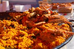 Detail paella at farmers market prawns seafood stock images
