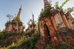 Shwe Indein Pagodas. Detail of a pagoda in Shwe Indein near the Inle lake in Myanmar Stock Photo