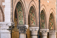 Detail of the painted arcades of the medieval town of Montagnana Stock Images