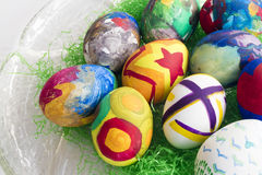 Detail of painted Easter eggs with different forms and colors pl Stock Image