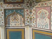 Detail, painted murals of the palace, Stock Photos