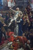 Detail of a painting by Jan Matejko, Polish painter. Detail of a painting by Jan Matejko, a Polish painter, at the Royal Castle in Warsaw, Poland. Sejm marshal stock photography