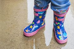 Detail of a pair of rain boots royalty free stock photos