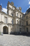 Detail of the Palace of Fontainebleau courtyard, France Royalty Free Stock Images