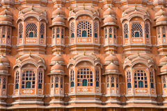 Detail of Palace of Winds, Jaipur. A detail of the facade of the pink Hawa Mahal as seen from the road in the city of Jaipur in eastern Rajasthan, India Royalty Free Stock Photography