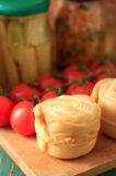 Detail of Parenica smoked cheese and tomato shrub Royalty Free Stock Image