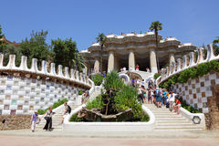 Detail of Park Guell, designed by Antonio Gaudi Stock Photography