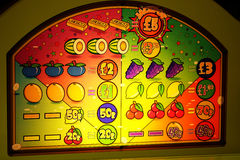 Detail part of amusement arcade machine. Detail part of amusement arcade machine for betting and gambling Stock Photography