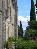 Detail and part of the villa of the island of the Garda on the lake of Garda with its garden. Italy Stock Images