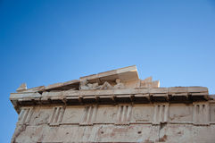 Detail of the Parthenon on the Athenian Acropolis, Greece Royalty Free Stock Images