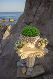 Detail of party decoration on the sea shore. Stock Images