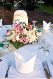 Detail of party table with flowers. Stock Photo