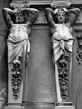 Detail from Pasajul Macca-Vilacrosse arcade, Bucharest. Statues above the entrance to the glass-covered arcade Pasajul Macca-Vilacrosse in Bucharest, Romania stock images