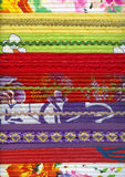 Detail of patchwork fabric handmade. With machine quilting. Decorated with braid and lace Royalty Free Stock Photos