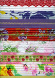Detail of patchwork fabric handmade. With machine quilting. Decorated with braid and lace Royalty Free Stock Photo