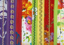 Detail of patchwork fabric handmade from strips Stock Images